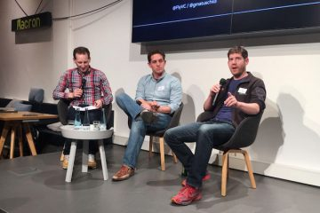 Github co-founders, Scott Chacon (L) and Tom Preston-Werner (R), speak about their new project, Chatterbug, at the Tech Meetup in Berlin.